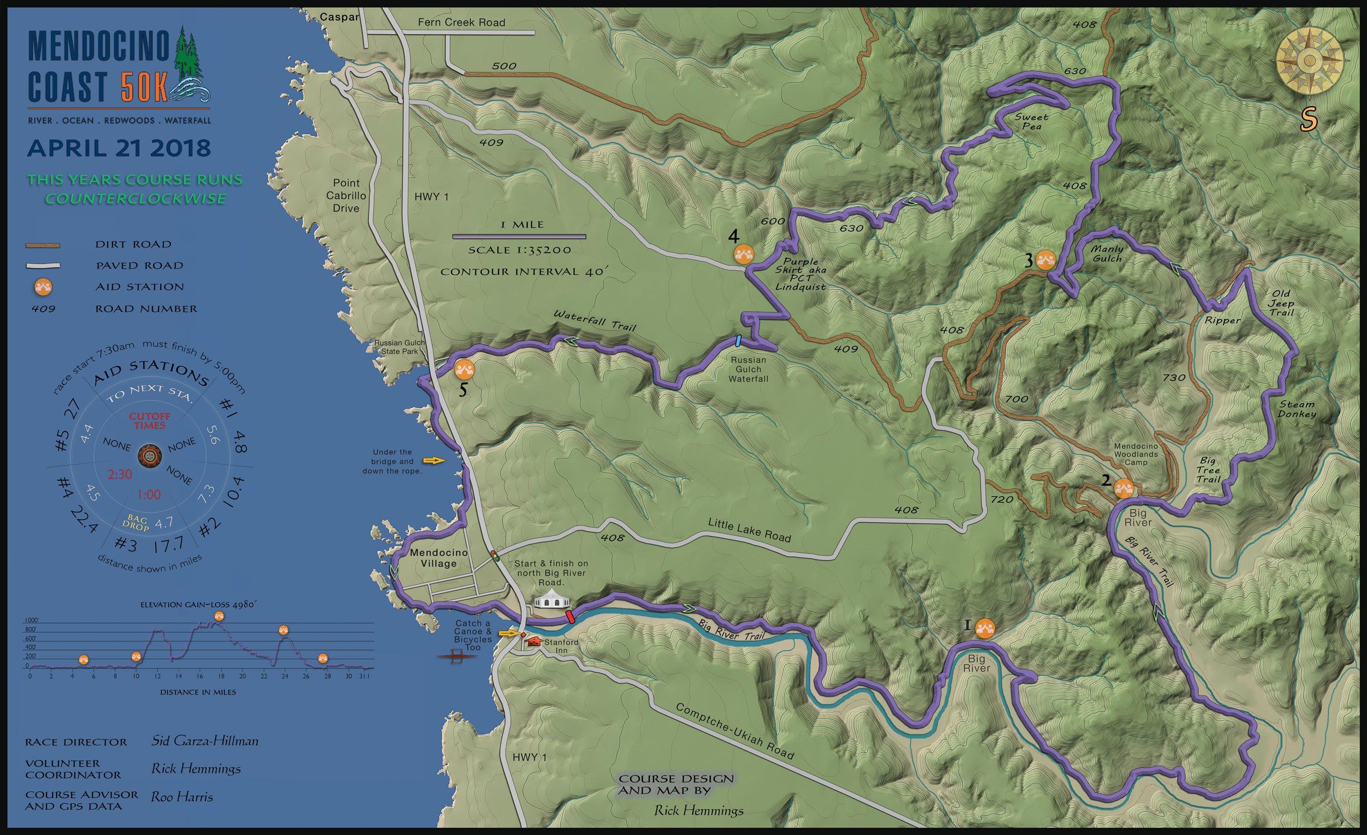 Mendocino Coast 50K Course Map