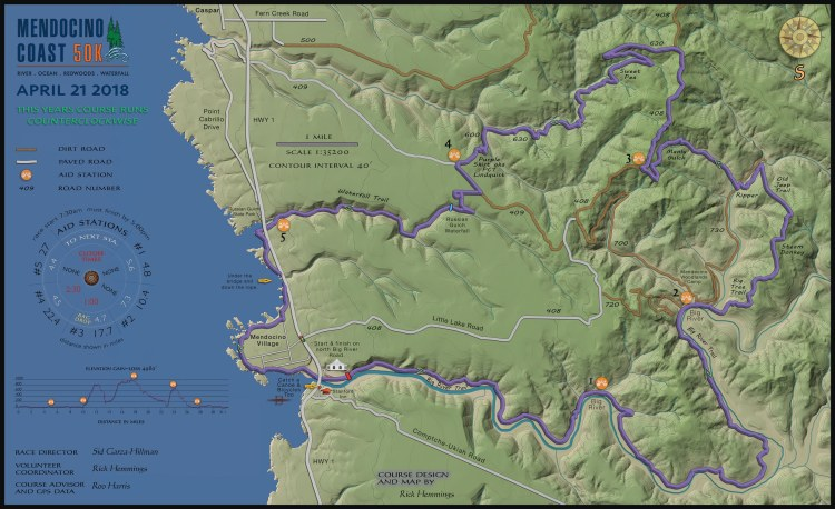 Mendocino Coast 50K Course Map