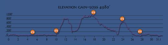 Course elevation/gain profile